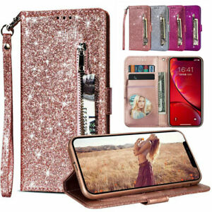 Glitter Leather Flip Wallet Stand Case Cover For Samsung A12 A52 A21s S20 FE S21