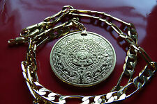 "MAYAN CALENDAR PROPHECY COIN PENDANT on a NICE  20"" GOLD FILLED FIGARO CHAIN"