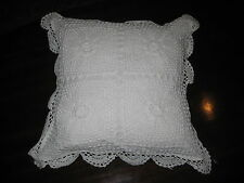 """White Square Cotton Crochet Cushion Cover With Scalloped Edge 16""""X16"""" NWT"""