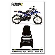 YAMAHA PW 50 PW50 SEAT COVER  Ribbed GRIPPER ALL Black With White Ribs Enjoy MFG