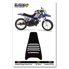 YAMAHA PW 50 PW50  SEAT COVER  Ribbed GRIPPER Black/White Ribs by Enjoy MFG