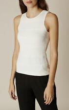 Karen Millen Sz L UK 14/16 US 12 Ivory Textured Knit Sleeveless Tank Top Summer