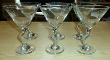 6 Libbey Clear Martini Glass Bent Z Crooked Stem - LIFETIME MOVIE NETWORK