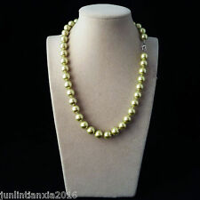 100% Genuine Beautiful 10MM Green Sea Shell Pearl Necklace 18'' AAA