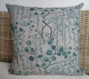 Beautiful Chinoiserie Teal Oriental Florals Hamptons Pillow Cushion Cover 45