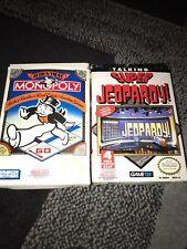Monopoly Nintendo NES in Original Box+super Jeopardy Lot Game Cartridges Foam