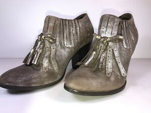 Seychelles Special Edition Sz 6 Metallic Look Fringed Leather Heeled Boots