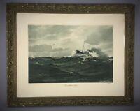 Rare photogravure début XXe Benjamin Olsen Pleine Mer encadré bois verdâtre doré