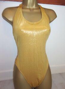M &  S   GOLD  HALTERNECK    SWIMSUIT   COSTUME    -SIZE 16  HIGH  LEG   NWOT