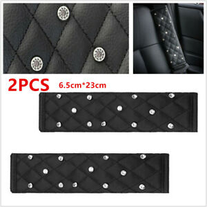 2Pcs Black Shine Diamond Leather SUV Car Seat Belt Cover Shoulder Pads 6.5*23cm