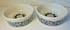 "Lot of 2 Matching Pet Dog Cat Dish Bowls Black and White Decorative Ceramic 5""W"