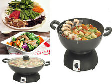 NEW ELECTRIC WOK (EK0836) WITH GLASS LID STIR FRY ORIENTAL INDOOR GRILL COOKING