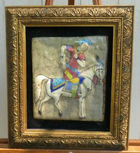 RARE ANTIQUE LARGE 19 C. POLY CHROME PERSIAN QAJAR TILE MAN ON HORSE PAINTING