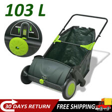 Garden Power Lawn Sweeper Leaf Grass Collector Remover 103 L Outdoor New