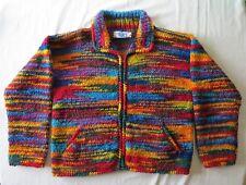 The Sweater Venture Made in Ecuador Rainbow Multi color WOOL Sz XL FULL ZIP