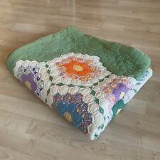 "Vintage 1930s Handmade Quilt Grandmother's Flower Garden Lightweight L:77"" W:70"