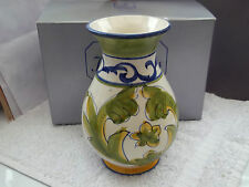 BOXED JOHN JENKINS SHAPED VASE WITH A HAND PAINTED GREEN AND LEMON LEAF PATTERN