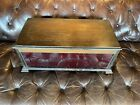Vintage Wood Display Case Box w Red Glass Front