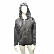 Unisex Reversible Hoodie Jacket SPYS Black Gray Stripe Lightweight  Outerwear