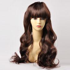 Women's Long Wave Full Wig Heat Resistant Hair Dark Brown Party Wigs