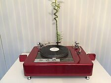 "Burgundy Red Garrard 401 two tonearm versione 9"" 12"" plinth Zarge"