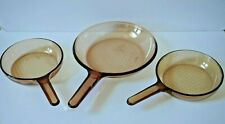 Vintage - Corning Vision France / Usa amber glass Fry Pan Set Skillet Cookware