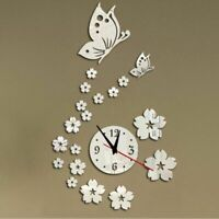 Home Wall Clock Art Decoration 3D Mirror Acrylic Floral Butterfly Designed Watch