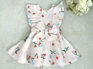 NEW Size 0,1,2 Girls Dress Pretty Pink Floral Belted Ruffle Dress- Select Size