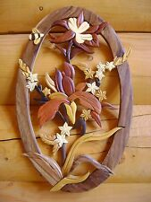 Columbine & Bee Intarsia Wood Art - Wood Decor Wall Hanging - NEW