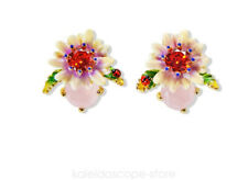 LES NEREIDES WHITE STONE FLOWERS STUD EARRING