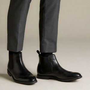 Clarks Ronnie Top Mens Chelsea Pull On Brogue Black Leather Boots Size UK 10 G
