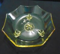VINTAGE YELLOW DEPRESSION GLASS OCTAGON SHAPED FOOTED BOWL