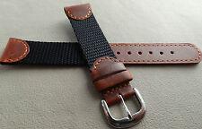 Mens Kreisler Black Brown Water Resistant Nylon Sport 19mm Watch Band $14.88