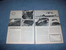 "1966 Citroen DS-21 Vintage Road Test Info Article ""..Specializes in Solid Comfot"