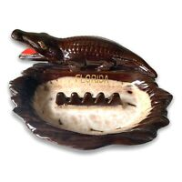 Vintage Glazed Mid Century Pottery Florida Souvenir Alligator Ashtray Japan