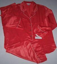 NWT Natori Private Luxuries CORAL SATIN CHARMEUSE Pajama Pant/Top Set L $130
