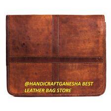 """15"""" Men's Genuine Vintage Leather Lining Messenger Shoulder Laptop Large Bag"""