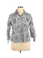Allison Daley Long Sleeve Button-Down Shirt Size 14 Petite Black White Animal Pr