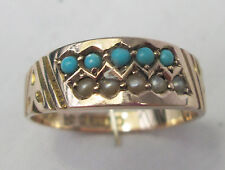 Antique Victorian 9ct Rose Gold Persian Turquoise & Seed Pearl Ring 1899 Size O