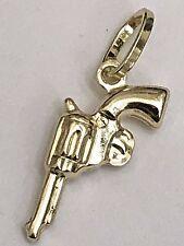 "Hand Gun Revolver 14k REAL GOLD Pistol Pendant Charm necklace yellow 3D 1"" .8g"