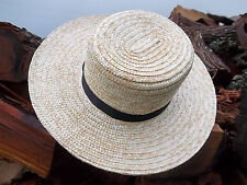 "BRAND NEW Pennsylvania  AMISH MADE STRAW HAT SIZE - 7  3/8""  with 3 1/2"" brim"