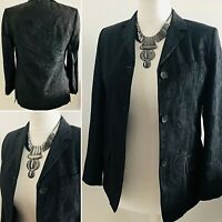 NICOLE FARHI Black Sheen Jacket Blazer UK8 Designer Brocade Evening Spring