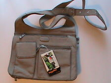 BAGGALLINI upscale city bag organizer messenger taupe beige shoulder X-body NWT