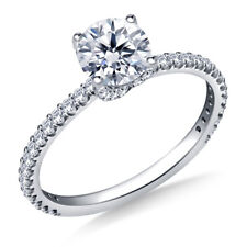 14K Solid White Gold Size 5 6 7 0.95 Ct Round Cut Diamond Bridal Engagement Ring