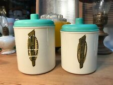 2 Vintage 1930's Art Deco Australian Eon Bakelite Kitchen Canisters Rice Tea