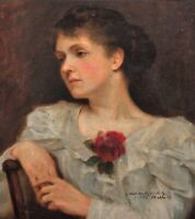 Large 19th Century Lady Portrait White Dress Rose by Frank Salisbury (1874-1962)