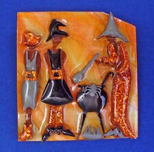BUY1&GET1@50%~Lucinda PIN Halloween WITCHES Cauldron BREW Vtg 3D Holiday BROOCH