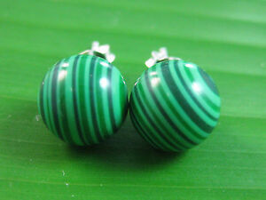 100% REAL 925 sterling silver MALACHITE 10mm BALL Studs Earring TEEN GIRL WOMEN