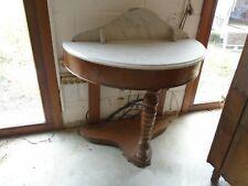 Console ancienne, console bois et marbre blanc, console Louis Philippe demi lune