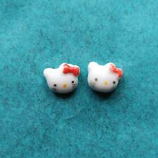 Hello Kitty Cartoon Ceramics Cat Stud Earrings Gift for Girls